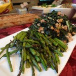 Roasted Asparagus   Sausage and Spinach Sautéed Kale