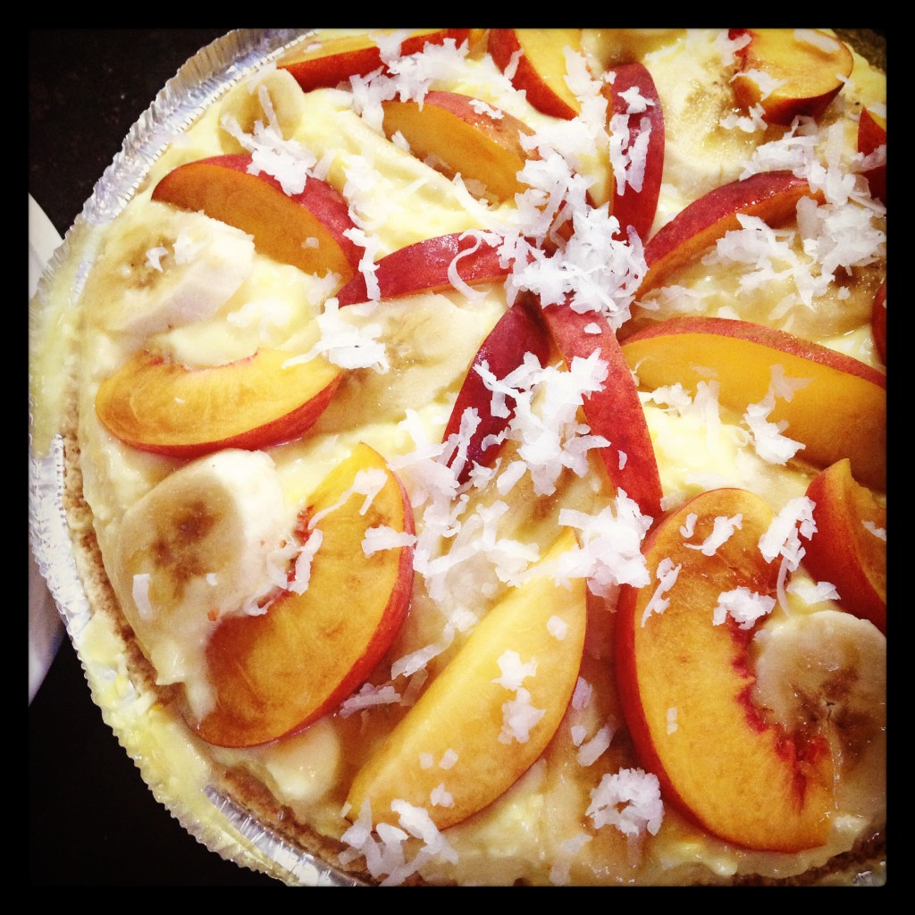Coconut Cream Pie with Bananas and Fresh Peaches